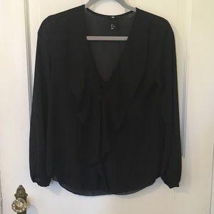 H&M black, flows, peasant style blouse! NWOT